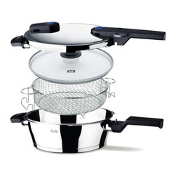 Fissler - Fissler Vitaquick Pressure Pan Set with Glass lid and Basket, 4.2-qt. - Silent Under Pressure. Vitaquick pressure cookers are completely silent and steam-free under pressure, so less water, energy, and time are needed. Auto-Locking Handle with Visual Indicator. The handle automatically locks with an audible click when closed properly and features a visual indicator window that changes from red to green when securely locked. Pressure cannot build until the lid is properly locked and the visual indicator is green. Conical Design. Vitaquick has a conical pot shape, so that cookers of the same diameter may be stacked for space-saving storage without scratching or wedging. Cleaning Made Easy. Cleaning the maintenance-free main control valve simply involves rinsing the lid under running water, and does not require removal for cleaning in the dishwasher. Removable Lid Handle. The lid handle can easily be removed if desired with a simple thumbscrew. Min/Max Measuring Scale. The internal measuring scale is a fast and easy reference for pressure cooking beginners and pros alike.Fool-Proof Safety Lid. The completely redesigned lid has a positioning aid and simplified rim to ensure easy operation with one hand.Novogrill Frying Surface. The Pressure Skillets can be used as the ultimate frying pan with the patented Novogrill bottom, a unique honeycomb texture perfect for low-oil grilling, searing, and frying. Novogrill provides the perfect healthy indoor grill. CookStar All-Stove Base. The CookStar all-stove base, made of an extra-thick aluminum core and high-quality stainless steel, ensures that the base will never separate, warp, or develop hotspots, even on induction stoves. Pan is made of an extra thick aluminum core encapsulated in high-quality 18/10 stainless steel, ensures that the base that will never separate, warp, or develop hots pots, even on induction stoves Lifetime Guarantee. Pressure Pan W/Locking Lid: (Diameter:  26 cm / 10.2 in, Capacity: 4.0 L / 4.2 qt.)Glass Lid: (Diameter: 26 cm / 10.2 in)