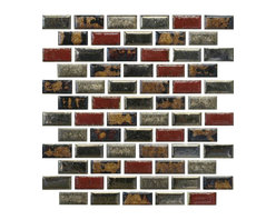 """GL -STONE - Hand Made Random Ceramic Wall Tile, 12"""" x 12"""" - Glossy ceramic mosaic tile is one of the most popular tile for the interior wall and floors. This beautiful combination shades of golden, red and black silver polished finished creates a sleek and attractive design to any room. The mesh backing not only simplifies installation, it also allows the tiles to be separated which adds to their design flexibility. These tiles will give a luminescent quality to any kitchen or any decorated spot in any room. Each sheet measures 12""""x 12""""( 1 sq. ft.) This mosaic tile is great for shower surround, bathroom floor, kitchen backsplash, or wall feature."""