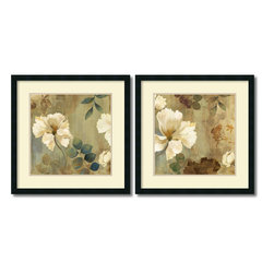 Amanti Art - Asia Jensen 'Golden Spaces- set of 2' Framed Art Print 26 x 26-inch Each - Bring an earthy flair to your decor with this exquisite floral art print set by Asia Jensen. With subtle shades of brown and gold, Jensen sets the stage for floral-inspired elegance.