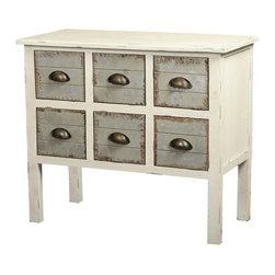 None - Gallerie Decor Dover Six-drawer Accent Chest - Attractive distressed wood and a weathered finish highlight this Dover Collection accent chest. Apothecary-style metal handles further accentuate the look of this lovely accent chest.