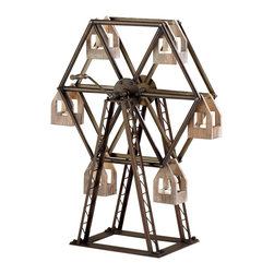 Kathy Kuo Home - Antique Reproduction Ferris Wheel Circus Model Votive Holder Sculpture - Evoking the sidewalks of belle époque Paris this miniature hand crank Ferris wheel is an eternally lovable homage to nostalgia and light with room for six votive candles to boot! Rustic homes, children's rooms and industrial lofts will find it a heartwarming addition.