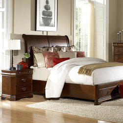 Homelegance - Homelegance Karla 2 Piece Platform Sleigh Bedroom Set in Brown Cherry - The Karla Collection takes the refined features of classic lines and creates a modern update of traditional design. Clipped corners and routed pilasters blend the classic lines of the top and base moldings while the antiqued bronze finish hardware  featuring an elegant garland motif with drop ring pull  further accent each case piece. Book-matched veneer accents the headboard and footboard creating a focal point for the collection. Cherry and birch veneers are accentuated in a luxurious brown cherry finish that further exemplifies the traditional feel of this set. Also offering platform bed with footboard storages.