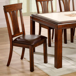 """ECI Furniture - Uptown Collection Slat Back Chair - Set of 2 - """"The Uptown dining collection is a contemporary lifestyle group that will add class and style to your dining decor. Comfortable side chairs covered in a brown vinyl for easy care."""