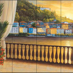 The Tile Mural Store (USA) - Tile Mural - Dr - Italian View - Kitchen Backsplash Ideas - This beautiful artwork by Diane Romanello has been digitally reproduced for tiles and depicts a view of the Italian coast from a balcony.  Waterview tile murals are great as part of your kitchen backsplash tile project or your tub and shower surround bathroom tile project. Water view images on tiles such as tiles with beach scenes and Mediterranean scenes on tiles Tuscan tile scenes add a unique element to your tiling project and are a great kitchen backsplash idea. Use one or two of our landscape tile murals for a wall tile project in any room in your home for your wall tile project.