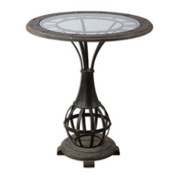 Uttermost - Honi Glass Accent Table - Antiqued metal clock framework with weathered fir wood tabletop inset with clear tempered glass.