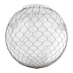 Clear Globe Shade With Wire Mesh - I can see this pretty globe right over the kitchen sink, in the entry or in the laundry room of an old (or newly renovated) farmhouse.