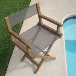 Royal Teak Dirch Director Chair, Taupe - Here is a director's chair made for the outdoors. It has great colors and cool mesh.