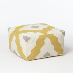 Bazaar Pouf - Yellow and gray is a hot color combination right now, and I love how they come together on this ottoman.