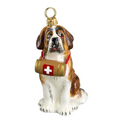 Frontgate - St. Bernard with Barrel Dog Ornament - Mouth-blown glass ornament. Barrel adds a realistic touch. Hanger included. Dog Bone Stand allows easy year-round display (sold separately). Hand-detailed to precisely capture the characteristics of the beloved breed, our St. Bernard with Barrel Dog Ornament will melt hearts from bough to tabletop. The glass ornament looks perfectly at home if he's displayed alone or with our entire collection of dog ornaments.  .  .  .  .