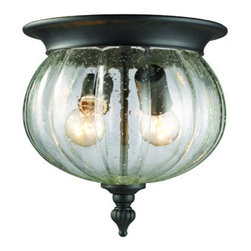 Z-Lite - Z-Lite 516F 2 Light Flush Mount Outdoor Ceiling Fixture with Glass Round Shade f - Z-Lite 516F 2 Light Flush Mount Outdoor Ceiling Fixture with Glass Round Shade from the Belmont CollectionTraditionally designed, the Belmont collection is the perfect way to elevate the style of your outdoor space.Features: