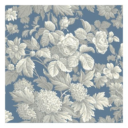 York Wallcoverings - York Wallcoverings KC1845 Blue Book Antique Floral Wallpaper - Lushly packed garden flowers cover this exquisite wallpaper that includes all the favorite blooms such as hydrangeas, roses, daisies and dogwoods. Rendered in beautiful traditional design with centuries old surface printing presses, this masterpiece design has a current decor sophistication due to its tonal coloring. This wallpaper design will make a grand statement in living rooms, dining rooms, master bedrooms, guest bathrooms, and foyers. Made in the USA. Completely removable guaranteed.Features:Prepasted: Paste has already been applied to the back of the wallpaper and is activated with water.Washable: May occasionally be cleaned by sponging with soap and warm water. Great for living rooms and bedrooms.Strippable: Easy to remove. Can be pulled off your wall in one piece without any wetting treatments or steamers.Completely RemovableDesign Match: Drop - The pattern will need to be aligned both horizontally and vertically with wallpaper panel on either side. Drop patterns require additional wallpaper to ensure the patterns match across all panels.Packaged and sold in double rollsMade in the USASpecifications:Double Roll Dimensions: 20.5 Inches x 33 Feet = 56 Square FeetDesign Repeat: 20.5 InchesLength: 396 InchesWidth: 20.5 Inches