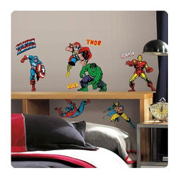 KOOLEKOO - Marvel Classics Superheroes Wall Decals - Bring the classic Marvel characters from your favorite comic series into any room in just seconds! These high action wall decals of Spider-Man, Captain America, Thor, Wolverine, Iron Man, and more of your favorite superheroes will make any room more exciting. All of the wall decals are removable, repositionable, and reusable, and can be placed on any smooth surface. A great gift for comic book fans! Contains a total of 32 decals measuring between 4/5-inches tall x 3-inches wide and 9-inches tall x 7 1/2-inches wide.