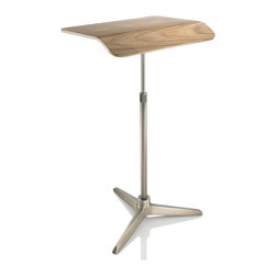 Plunk Desk - Plunk Desk-Walnut/Nickel - Plunk Desk is a portable, adjustable standing desk handcrafted from wood and aluminum. Plunk fits into a custom bag and no tools are needed for assembly.