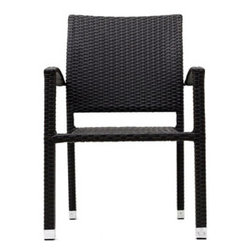 """LexMod - Bella Dining Outdoor Patio Armchair in Espresso - Bella Dining Outdoor Patio Armchair in Espresso - Relax in confidence, as you effortlessly unite diverse forces to take center stage. Wealth and success surround you and draw attention to greater heights. This outdoor wicker dining chair has a sturdy aluminum frame covered with an espresso rattan weave. Set Includes: One - Bella Outdoor Wicker Patio Dining Chair Outdoor Synthetic Rattan Weave, Powder Coated Aluminum Frame, Water & UV Resistant, Ships Pre-Assembled Overall Product Dimensions: 23""""L x 20""""W x 35""""H Seat Height: 16""""HBACKrest Height: 34.5""""H Armrest Dimensions: 1.5""""W x 24.5""""H - Mid Century Modern Furniture."""