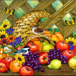 The Tile Mural Store (USA) - Tile Mural - Harvest Time - Kitchen Backsplash Ideas - This beautiful artwork by Jane Maday has been digitally reproduced for tiles and depicts a nice cornucopia.  This fruit and vegetable themed tile mural is perfect to add interest to your kitchen backsplash tile project.  Images of fruits and vegetables on tile are timeless and make an impressive kitchen backsplash idea. Wall tiles with pictures of fruits and vegetables add interest to your kitchen backsplash wall tile project.