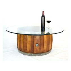 "Wine Country Craftsman - NAPA - ""Zebra"" - Wine Barrel Coffee Table with Offset Staves - We get requests from restaurants, wine bars and wineries for new and fun furniture and we designed this beautiful coffee table made entirely from a retired wine barrel."