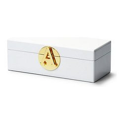 Monogram Jewelry Box, White - Boxes are always good for keeping clutter at bay. I think this white one with a gold monogram clasp is so chic.