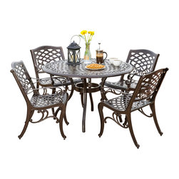 Great Deal Furniture - Covington Outdoor 5pcs Cast Aluminum Dining Set - The Covington dining set is a beautiful addition for your outdoor decor. Made from cast aluminum, the set includes four (4) dining chairs and one (1) mesh table. The features include a mesh back and seat rest and the table also features a patio umbrella opening. The antique bronze finish is neutral to match any outdoor furniture and will hold up in any weather condition. Whether in your backyard, patio, deck or even your restaurant outdoor dining space, you'll enjoy this set for years to come.