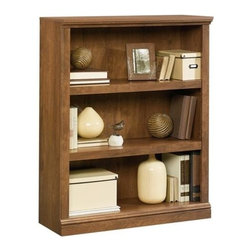 Sauder - 35 in. 3 Shelf Bookcase in Oiled Oak - Oiled Oak finish. 3 Shelves, 2 of which are adjustable. Patented slide-on moldings. Made of engineered wood. Assembly required. 35 in. W x 13 in. D x 44 in. H