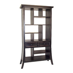 Wayborn - Suchow Open Display Unit - 2 Drawers. Multi sized compartments. Made from Basswood. Antiqued with a smooth finish. 39 in. W x 18 in. D x 74 in. H (133 lbs.)