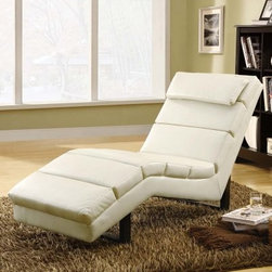 Monarch Faux Leather Chaise Lounger - Taupe - The Monarch Faux Leather Chaise Lounger - Taupe provides a bright palate-cleansing design to any darkly-palated room or cluttered decor. Its solid hardwood frame is sturdy and supporting, featuring a plush padding to provide comfort as well. The entire piece is upholstered in alluring taupe faux leather that's both soft and tough against frequent use. A gently contoured frame and a padded, pillow-like headrest help to ensure maximum support for its occupant. This handsome modern piece is a great fit for naturally lit living rooms or neutral-colored collections.About Monarch SpecialtiesWilbur Berger established Monarch Glass in 1950 on Rachel Street in Montreal, providing quality custom mirror and glasswork for both retail stores and the home. Understanding that there was more business with glass, Monarch started manufacturing and then diversified to importing mirrors and frames. Currently, the company is centered in Quebec, where it is a leader among furniture importers and distributors, focusing on fashion forward designs and impeccable customer service.