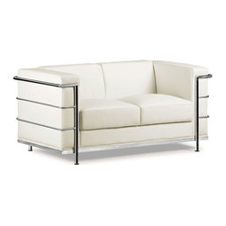 ZUO - Fortress Loveseat - White - Leather in a cage, the Fortress series gives mid-century lines an edge. It has leather seating, a leatherette back and side, and a chrome frame. It comes in black, white or espresso. Each piece sold separately.