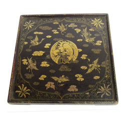 Golden Lotus - Chinese Antique Square Gold Crane Hand Paint Tray Display - This is a Chinese antique hand painting tray which is made of solid elm wood.  It comes with detail  crane painting on it.