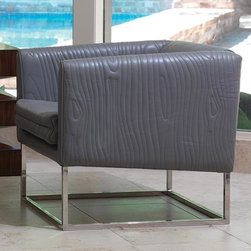 Global Views - Global Views Faux Bois Tuxedo Chair-Grey - White Glove Delivery, CratedGrey quilted cowhide leather with a polished stainless steel base; Removable seat cushion.