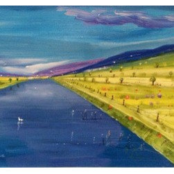 Meadow Lake (Original) by Michael Kane - I yearn for beauty and order in our rural countryside. This fantasy piece captures the simplicity and harmony of such a place.