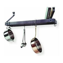 "Enclume - Premier Wall Mounted Deep Bookshelf Pot Rack, Hammered Steel - Dimensions: 36"" W x 13"" D x 17"""