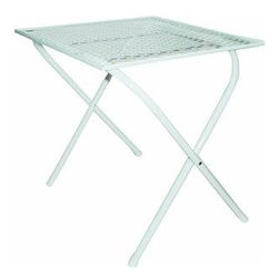 "Kay Home Products - 16"" x 16"" Folding Table - Steel mesh top with white painted finish"