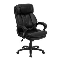 Flash Furniture - Flash Furniture Office Chairs Leather Executive Swivels X-GG-AEL-KB-7901-OG - This black leather office chair by Flash Furniture will be a comfortable and stylish addition to any office or home office setting. Designed with the user in mind, this chair incorporates a well padded seat and back, an ergonomically curved back, and padded loop arms to give you a great sitting experience as well as an aesthetic complement to your decor. This executive chair features chrome accents on the arms and base for a contemporary look. [GO-1097-BK-LEA-GG]