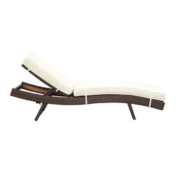Modway - Peer Chaise in Brown White - Dont let moments of relaxation elude you. Peer is a serenely pleasant piece comprised of all-weather cushions and a rattan base. Perfect for use by pools and patio areas, chart the waters of your imagination as you recline either for a nap, good read, or simple breaths of fresh air. Moments of personal discovery await with this chaise lounge that has fold away legs for easy storage or stackability with other Peer lounges.