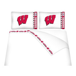 Sports Coverage - Sports Coverage NCAA Wisconsin Badgers Microfiber Hem Sheet Set - Queen - NCAA Wisconsin Badgers Microfiber Hem Sheet Set have an ultrafine peach weave that is softer and more comfortable than cotton. Its brushed silk-like embrace provides good insulation and warmth, yet is breathable.   The 100% polyester microfiber is wrinkle-resistant, washes beautifully, and dries quickly with never any shrinkage. The pillowcase has a white on white print beneath the officially licensed team name and logo printed in vibrant team colors, complimenting the new printed hems.    Features: -  Weight of fabric - 92GSM ,  - Soothing texture and 11 pocket,  -  100% Polyester,  - Machine wash in cold water with light colors,  - Use gentle cycle and no bleach ,  - Tumble-dry,  - Do not iron ,