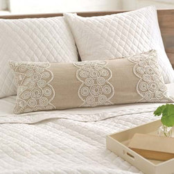Pine Cone Hill - french knot natural decorative pillow (15x35) - These fine linen decorative pillows feature detailed cotton embroidery on a soft, elegant background.��This item comes in��natural/tan.��This item size is��35w 15h.