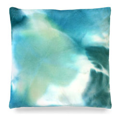 "Kerry Pillow - Turquoise - 24"" - Subtle swirls of green, white and blue dance delightfully upon the fabric of the Kerry Pillow. These soft hues might perfectly accent a stark white sofa or occasional chair or perhaps, a few placed atop a gorgeous white duvet in a master bedroom might suit your d�cor better. Wherever you decide to place the pillow�it is sure to bring a feeling of calm into your d�cor space with�its�stunning color palette."