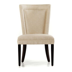 Jessica Charles - Colette Side Chair - Java Finish - Lark Taupe Fabric - Handmade in North Carolina using local, sustainable hardwood.  Hand applied wood finish.  Artisan upholstery and custom fit cushions.  Eight-way hand tied coils.  Spring Plush seat cushion consists of a Marshall unit core made of individually pocketed coil springs surrounded by an ultracell foam box which is then completely wrapped in a thick layer of comfort bond fiber and covered in ticking.
