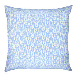 "NECTARmodern - Woodblock (sky) scales arches graphic throw pillow 20"" x 20"" - Inspired by a traditional hand printed motif. Sky blue and white arches. Design is printed on both the front and back. Designer quality cover with overstuffed feather/down insert."