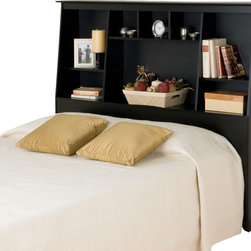 Prepac - Prepac Sonoma Black Tall Bookcase Headboard - Double / Queen - Get the most out of your bedroom's storage potential with the Twin Tall Slant-Back Bookcase Headboard. With its unique yet versatile style, this headboard will perfectly complement your bedroom furnishings. Eight storage compartments of varying sizes add storage for everything from your bedside books to decorative odds-and-ends, without needing extra floor space. Perfect for a smaller bedroom, your twin bed completes the deal. This free-standing product is designed to be paired with any twin bed including our Twin Mate's Platform Storage Bed and our Twin Tall Captain's Platform Storage Bed.
