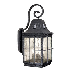 Vaxcel Lighting - Vaxcel Lighting ED-OWD110TB Edinburgh Traditional Outdoor Wall Sconce - Authentic colonial iron complemented by a niche water glass.