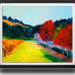 "Ann Rea - Bring home Napa Valley with ""Crimson and Vines"" by Ann Rea, Black Frame, Small - ""I literally sank in the mud as I painted 'Crimson and Vines' but the colors were so rich and so vibrant - I just couldn't pass it up.""  -Ann Rea"