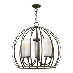 Fredrick Ramond - Renata Large Blacksmith Dome Pendant - Renata?s striking modern design features an outer sphere-shaped cage created from solid metal that has been flattened and tapered. The chandelier cage encompasses 5 Etched Opal Linen Glass shades while the caged pendant styles surround a unique rounded globe of Etched Opal Linen glass. Comes with 144 wire and 120 chain. Fredrick Ramond - FR32905BKS