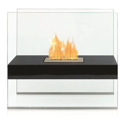 Anywhere Fireplaces - Anywhere Fireplace Madison, Floor Standing - The indoor/outdoor Madison model Anywhere Fireplace will give any space that WOW factor. Its grand size and clean elegant lines is truly a show stopper and focal point as it sits on the floor of your living room, bedroom, patio, porch . No need to install gas lines or undergo major construction to get the ambiance of a large fireplace. It is specially made with an outdoor grade powder coating so you can choose to use it outdoors as well as indoors and the elements will not affect its satin black finish. You will not want to leave the burner outdoors however because you don t want to get water in it. NEVER SUBSTITUTE ANY OTHER FUEL IN PLACE OF LIQUID FUEL FOR VENTLESS FIREPLACES. ALWAYS READ ALL INSTRUCTIONS ON YOUR FIREPLACE AND THE FUEL BOTTLE