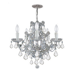 Crystorama - Crystorama 4405-CH-CL-MWP Maria Theresa Chandelier - There's undeniable magic when light meets crystal or glass. It sparks the same fire one sees when light meets precious and semi-precious stones. Great lighting often takes styling cues from jewelry as well, with its primary use of gold and silver tones. Just like an outfit isn't complete without the perfect necklace, bracelet or earrings, a room isn't complete until it has lighting that adds the WOW factor when you walk in.