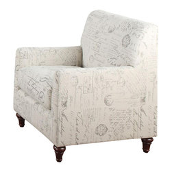 Coaster - Coaster Norah Accent Arm Chair in French Script Pattern - Coaster - Club Chairs - 502513 -This elegant arm chair is the perfect accent for your home. Add a touch of charm with this chair, featuring a French script fabric print. A tight back and slightly rounded track arms create a clean look, while turned feet complete the transitional style.
