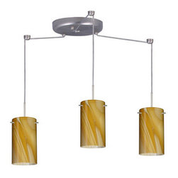 Besa Lighting - Besa Lighting 3BC-4404HN-LED Stilo 3 Light LED Cord-Hung Mini Pendant - Stilo 7 is a classic open-ended cylinder of handcrafted glass, a shape that will stand the test of time. This unique decor is handcrafted, with layered swirls of yellow-amber and golden-brown against white, finished to a high gloss. It's classic swirl pattern and high gloss surface has a truly florid gleam. Honey is a hand-blown glass designed to have a shiny and polished finish. The glass is gathered and rolled into shape a unique pattern is formed that cannot be replicated. This blown glass is handcrafted by a skilled artisan, utilizing century-old techniques passed down from generation to generation. Each piece of this decor has its own unique artistic nature that can be individually appreciated. The cord pendant fixture is equipped with three (3) 10' SVT cordsets and a 3-light round canopy, three (3) suspension stemhooks included.Features: