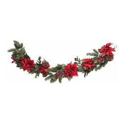 "60"" Poinsettia and Berry Garland - Decorate with style this holiday season with this elegant Poinsettia Garland. It is sixty inches (that's five full feet) of holiday charm, winding and twisting around your banister, entryway, exposed beams, or anywhere else a bit of holiday festivity is needed. Beautiful red leaves sit on top of lush greenery and pine stems, with faux berries and pinecones completing the holiday touch - cheers! Height= 5 ft x Width= 12 in x Depth= 6 in"