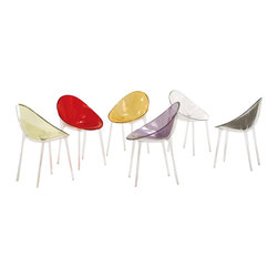 Kartell - Mr. Impossible Chair, Transparent Crystal - Quite possibly the coolest seat in the house, this chair's fluid form is achieved by fabricating the oval polypropylene seat separately, and then welding it onto a clear frame to create a bi-color effect. The result is a seamless, durable piece in a wide range of solid and transparent colors\