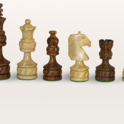 Sheesham Double Weight Royal Plus Carved Chess Pieces - The intricate carvings on the Sheesham Double Weight Royal Plus Carved Chess Pieces reflect extraordinary attention to detail. Old-fashioned and stylized this set will complement your traditional-style chess board beautifully. It is suitable for casual and professional players alike. These chess men are carved from sheesham wood with glossy light and dark finishes. Each piece is double weighted for additional stability and the felted base will help to streamline game play and protect your chess board. King height measures 4 inches. About WorldWise Imports:Specializing in retail and online merchants Worldwise Import founder Cheryl Stern has assembled a team that has the experience necessary to import the very best international products. Since 2001 the team has traveled the world to find and supply the finest in chess backgammon cribbage and other traditional games as well as some exotic and not so traditional games. Worldwise Imports' commitment to excellence has helped it become a leader in world import markets.