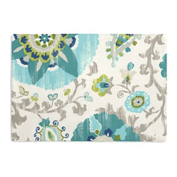 Aqua Suzani Custom Placemat Set - Is your table looking sad and lonely? Give it a boost with at set of Simple Placemats. Customizable in hundreds of fabrics, you're sure to find the perfect set for daily dining or that fancy shindig. We love it in this eclectic blue & aqua outdoor print where suzani meets sunshine.
